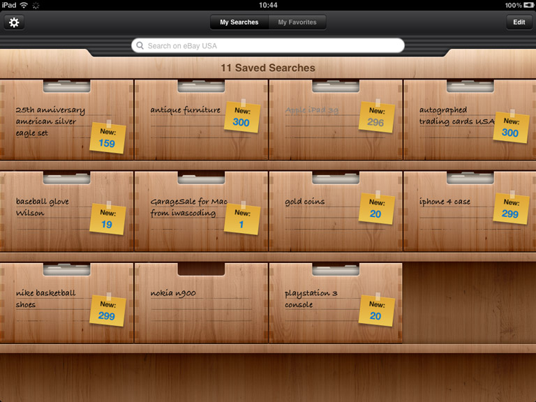 iPad: Saved Searches