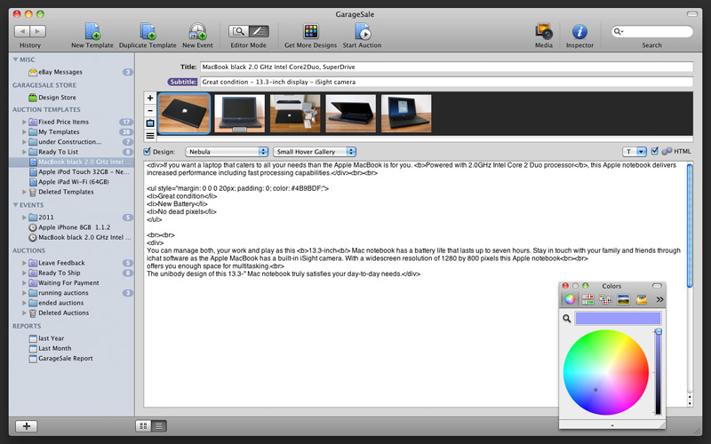 GarageSale - The all-in-one eBay tool for Mac OS X