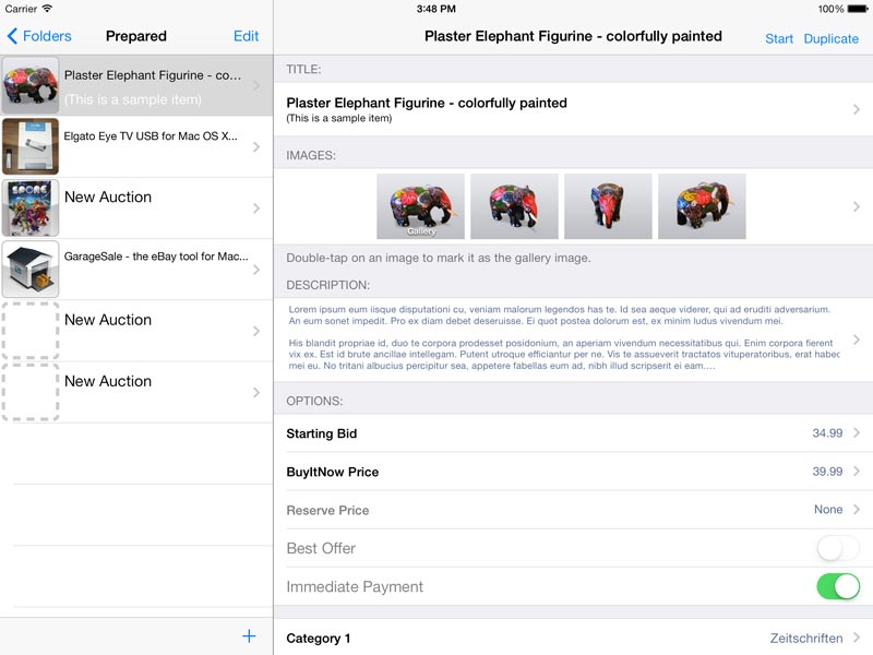GarageSale for iPad: Prepared Auctions